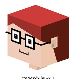 head lego child with red hair and glasses