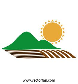 silhouette colorful seeding with mountain and sun