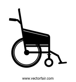 black silhouette wheelchair flat icon