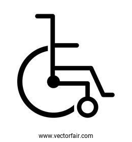 black silhouette abstract wheelchair flat icon
