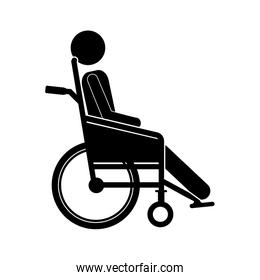 person sitting wheelchair flat icon