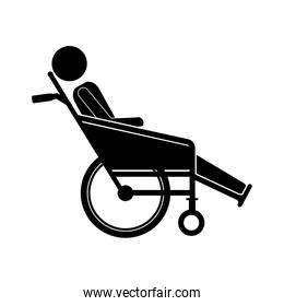 person sitting in reclining wheelchair flat icon