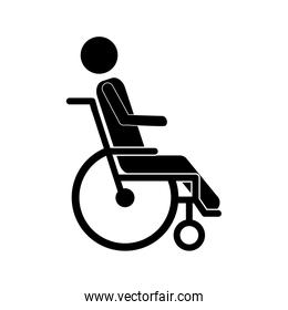 person sitting in abstract reclininig wheelchair flat icon