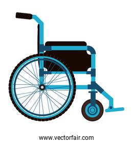 blue wheelchair design medical element icon