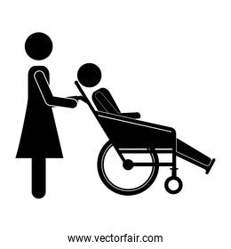 silhouette woman helping another push a reclining wheelchair