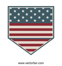 square shape of shield with american flag icon