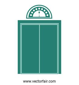 silhouette elevator with green door closed
