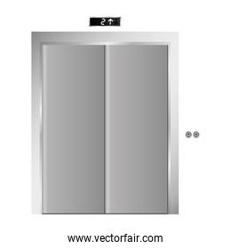 silhouette elevator gray scale with closed door
