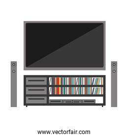 silhouette color with stero sound entertainment system and flat tv