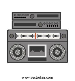 silhouette gray scale with stero sound amplifier