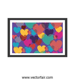colorful decorative picture frame with hearts