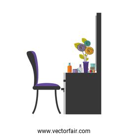 colorful silhouette with chest of drawers and make up