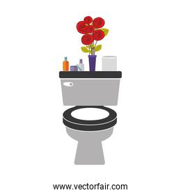 colorful toilet with decorative vase