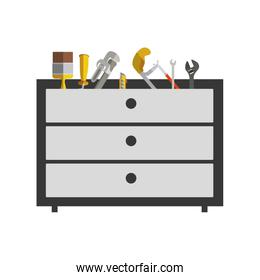 silhouette color with rack tools box