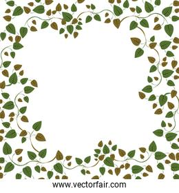 Floral circle frame with ivy and leaves
