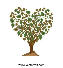 heart shape tree with colorful leafy branches