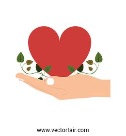 hand holding heart with border ivy of leaves