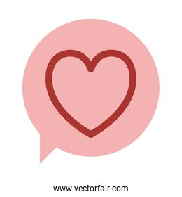 oval dialog box with silhouette red heart design icon