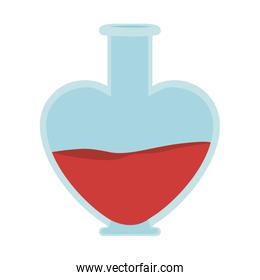 heart shape bottle with red liquid