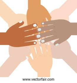 hand raised of different races together
