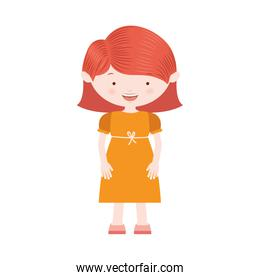 redhair girl with yellow dress