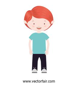 red hair boy with informal suit