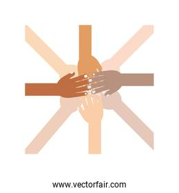Hands of different races connected