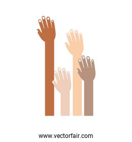 hand raised of different races