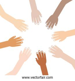 hand raised of different races united
