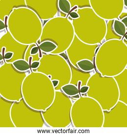 silhouette colorful pattern of lemons with stem and leafs
