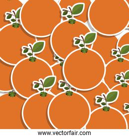 silhouette colorful pattern of oranges with stem and leafs