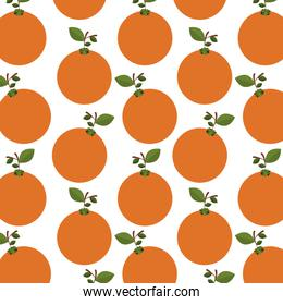 colorful pattern of oranges with stem and leafs