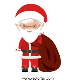 colorful santa claus with round glasses and bag