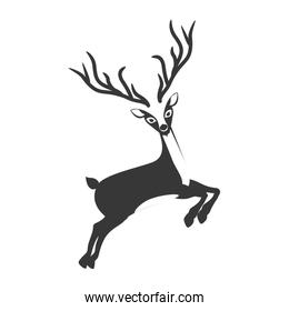 monochrome silhouette with reindeer jumping