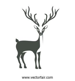monochrome silhouette with reindeer of long horns