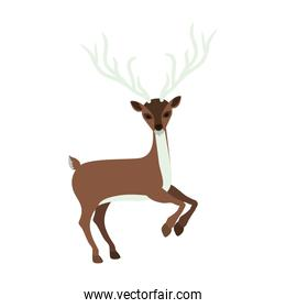 colorful silhouette with reindeer jumping