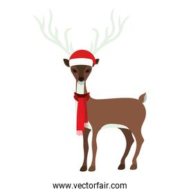 colorful silhouette of reindeer with hat and scarf christmas