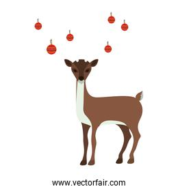 colorful silhouette of reindeer with garlands on horns