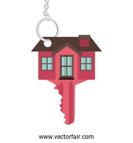 silhouette key red color with shape house