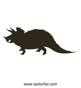 monochrome silhouette with dinosaur triceratops
