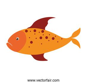 colorful silhouette with sea fish yellow and fins red and dots