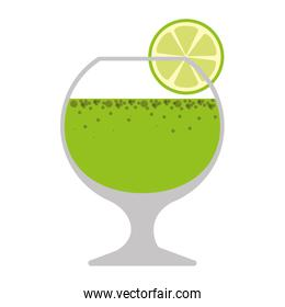 silhouette colorful with drink in glass and lemon