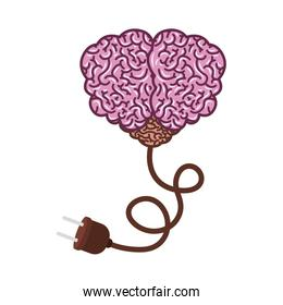 brain silhouette light purple color with top view with power cord
