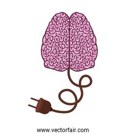 brain silhouette light purple color with two cerebral hemispheres and power cord