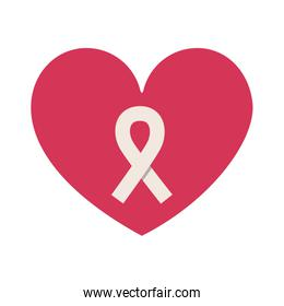 silhouette heart with ribbon symbol of breast cancer