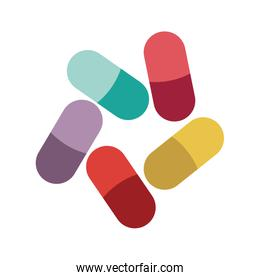 Colored pills and granules medical