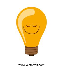 silhouette bulb light on with happy face