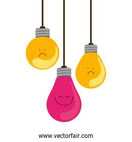 colorful hanging bulbs with emotion face
