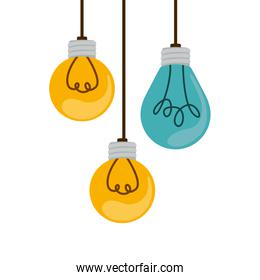 colorful hanging bulbs with filaments over white