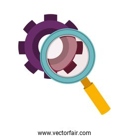 purple silhouette gear wheel and magnifying glass